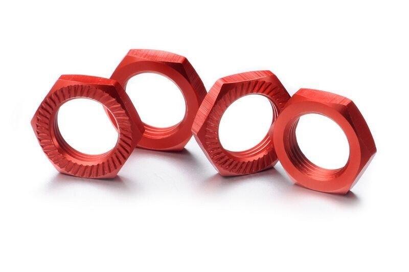 Matice kol 17mm 1:8 červené, stoupání 1, 4ks