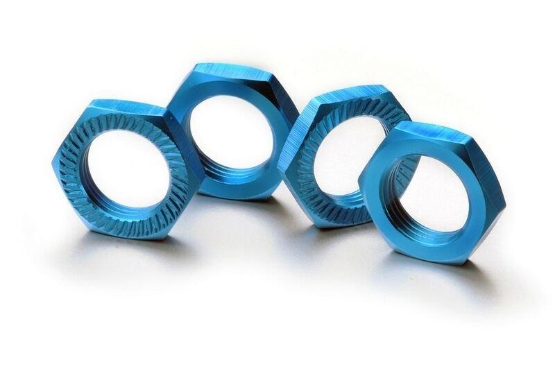 Matice kol 17mm 1:8 modré, stoupání 1, 4ks