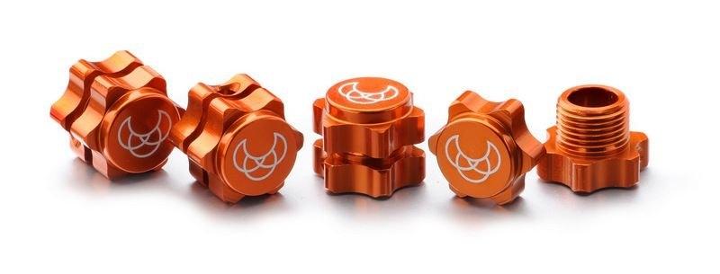 Hliníkové unašeče + matice 17mm oranžové, 4ks