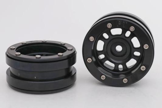 Kovové Beadlock CNC disky 1.9 PT Distract Black/Black, 2ks