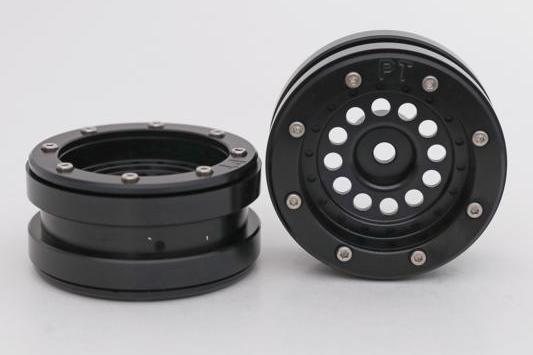 Kovové Beadlock CNC disky 1.9 PT Bullet Black/Black, 2ks