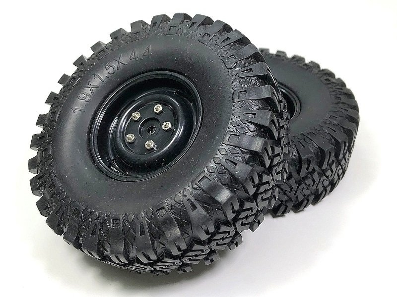 Pneumatiky + disky Crawler Rock Terrain 110mm, černé, 2ks