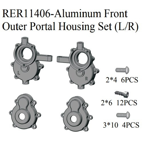 Aluminum Front Outer Portal Housing Set (L/R)